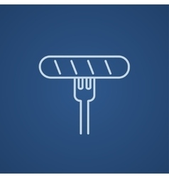 Sausage on fork line icon vector