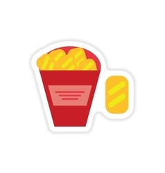 Stylish paper sticker on a white background snack vector