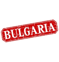 Bulgaria red square grunge retro style sign vector