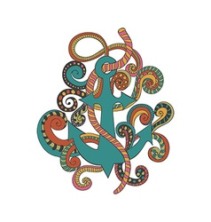 Hand drawn doodled of anchor ropes and swirls vector