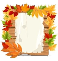 Autumn leaves and paper wood banner vector