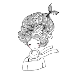Beautiful young girl mermaid sea theme vector