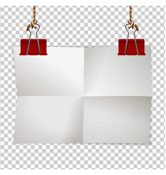 border template with paper and red clips vector image