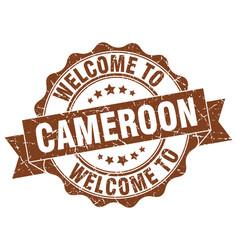 Cameroon round ribbon seal vector