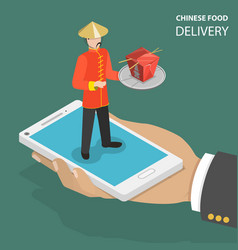 chinese food online order flat isometric low poly vector image vector image