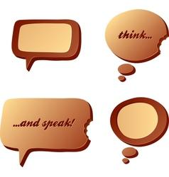 Chocolate speech and idea bubbles vector image