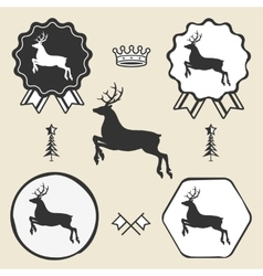 Christmas reindeer silhouett symbol emblem label vector