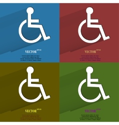 Color set disabled Flat modern web button with vector image