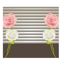 Colorful background with roses and striped lines vector