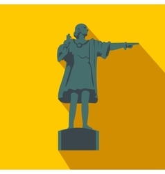 Cristobal colon sculpture in barcelona flat icon vector
