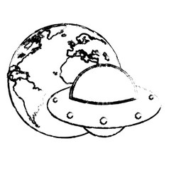 earth with ufo invasion design sketch vector image vector image