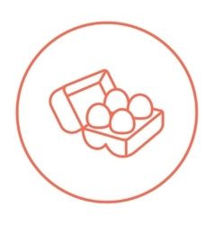 Eggs in carton package line icon vector
