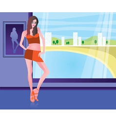girl in the beach resort vector image vector image