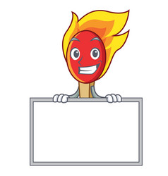 Grinning with board match stick character cartoon vector