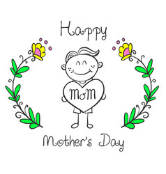 Happy mother day greeting card collection vector