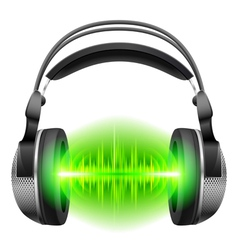 Headphones with music playing vector image vector image