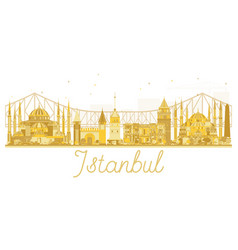 istanbul city skyline golden silhouette vector image