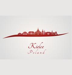 Kielce skyline in red vector