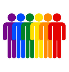 Lgbt movement rainbow flag six men vector