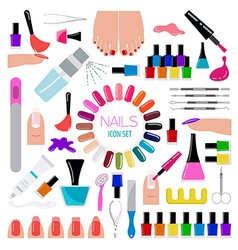 Manicure nail salon Icon set vector image
