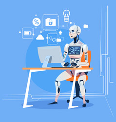 modern robot working with computer fixing errors vector image