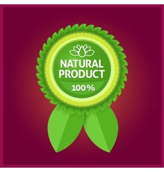 Natural product green label on violet vector image vector image
