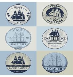 Nautical labelscolor1 vector