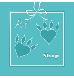 pet heart logo dog paw logo zoo shop vector image vector image
