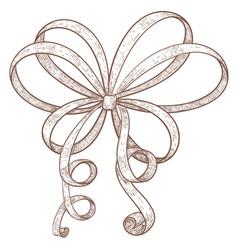 ribbon bow hand drawn grunge sketch vector image