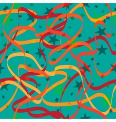 Ribbons stars and confetti Abstract seamless vector image vector image