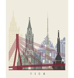 Riga skyline poster vector image vector image