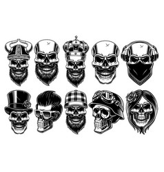 Set of different skulls vector