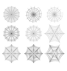set of spider web in silhouette style vector image