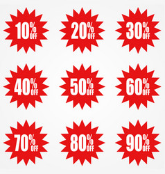 simple icon of red discount stickers vector image