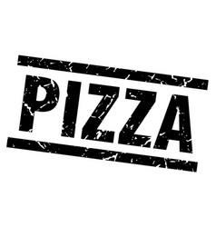 square grunge black pizza stamp vector image vector image
