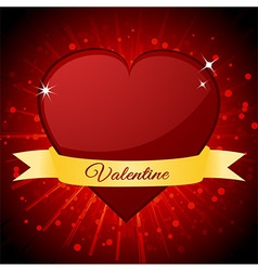 Valentine red heart and banner over starburst vector image vector image