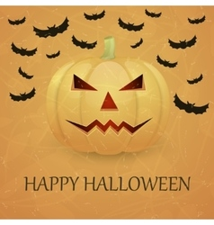 Vintage Halloween background with pumpkin vector image vector image