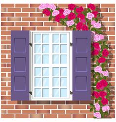 Window on brick wall background vector