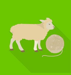 Wool single icon in flat stylewool symbol vector