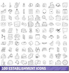 100 establishment icons set outline style vector