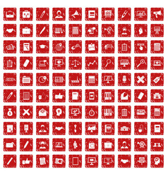 100 finance icons set grunge red vector