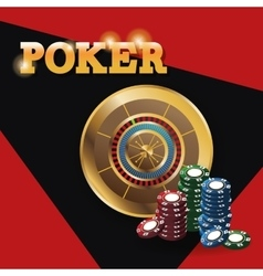 Chips and roulette for poker and casino game vector