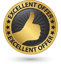 Excellent offer golden sign with thumb up vector