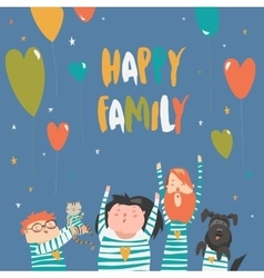 Happy family gesturing with cheerful smile vector
