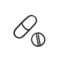 Pills sketch icon vector