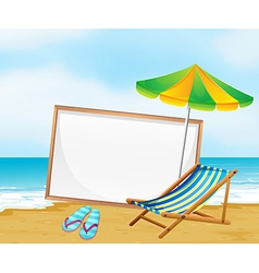 A beach with an empty whiteboard vector image