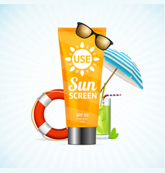 sun cream summer travel concept vector image