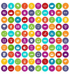 100 communication icons set color vector image