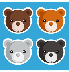 Cute bear icons vector