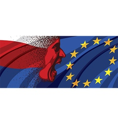 Angry face of russia to europe vector
